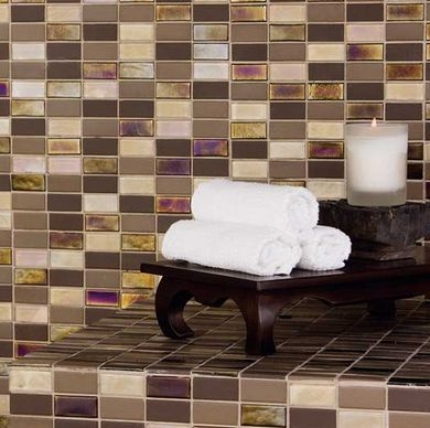 Tile Counter Ideas - 2 x 1 Inch Mosaic for Bathroom Counter