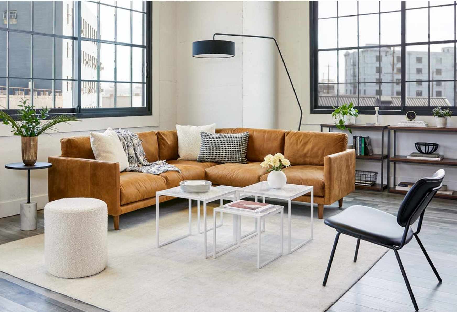 Article leather sectional