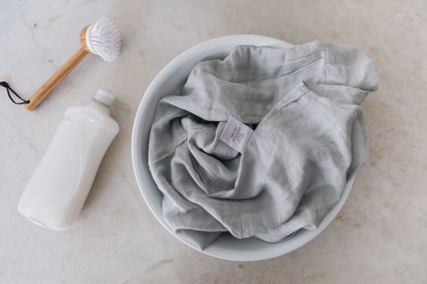 hand-washing linen clothing