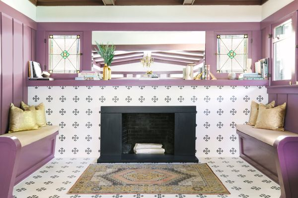 tile fireplace with purple mantle