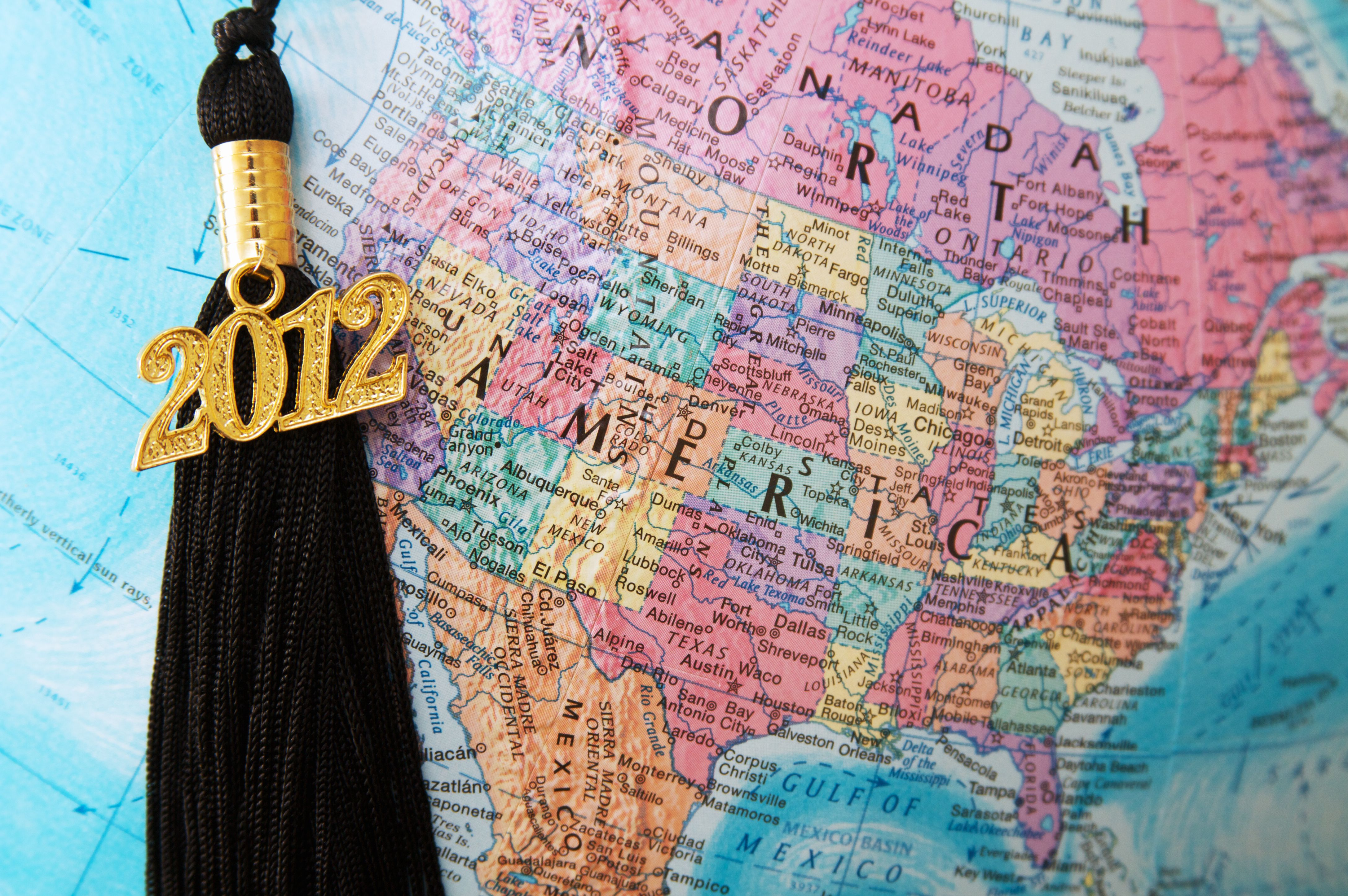 2012 tassel over the North American portion of a globe