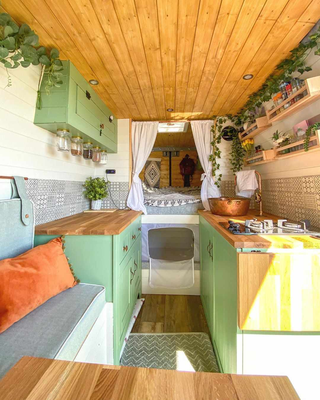 tiny house Van with green cabinets