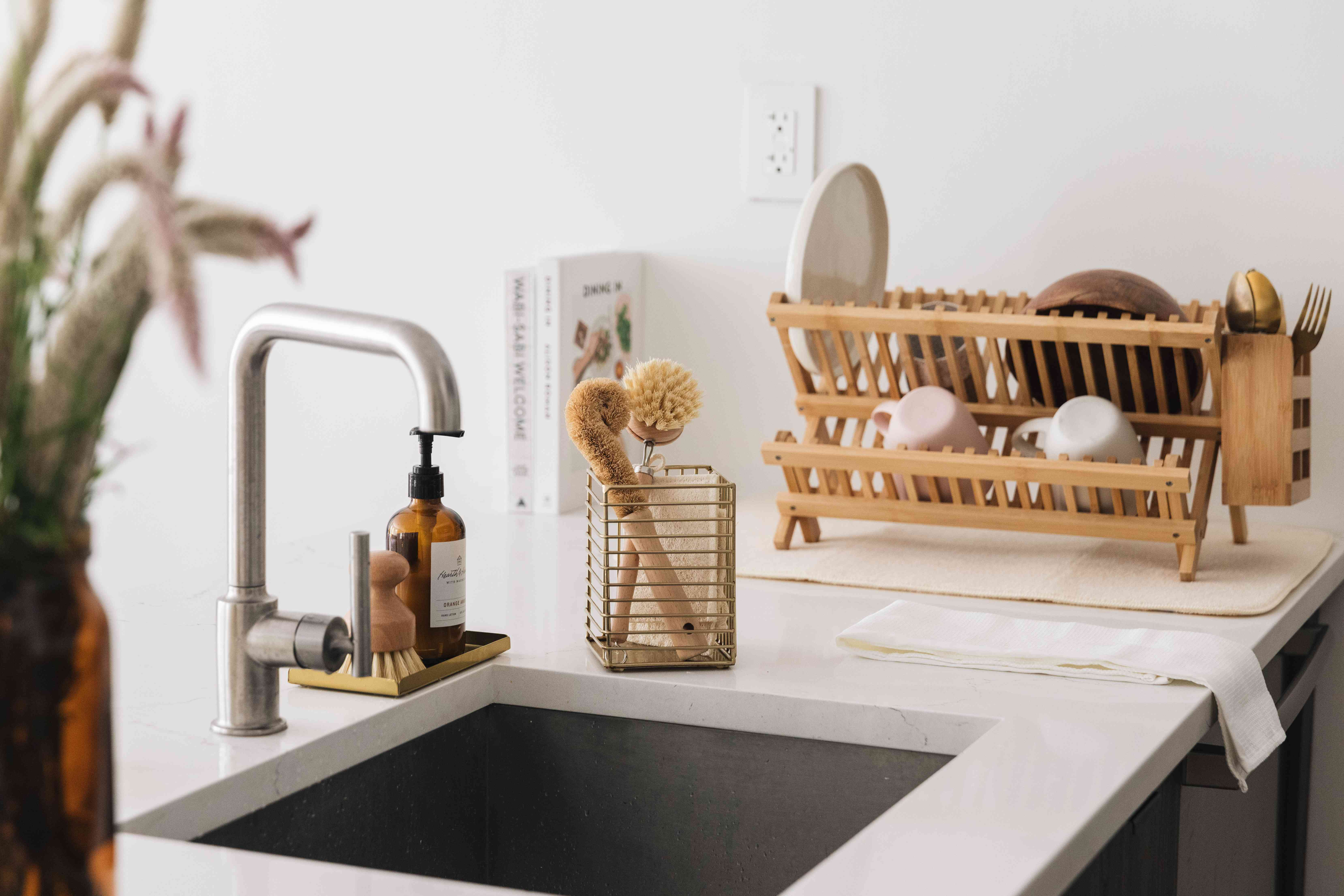 dish drying rack and sink items