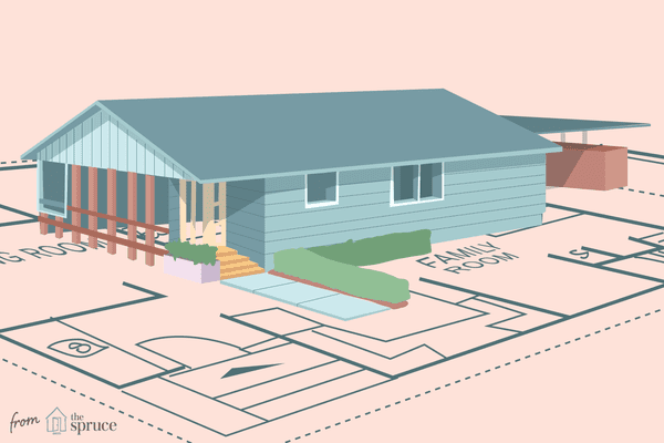 Illustration of ranch home on top of architecture blueprints