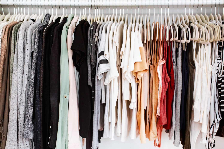 Shirts and blouses hung up