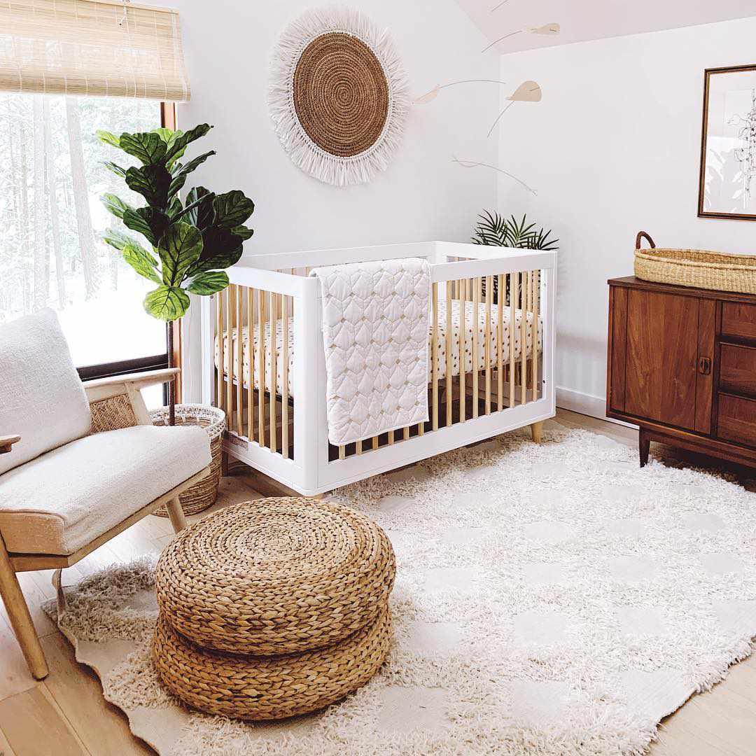 Neutral nursery space with boho charm