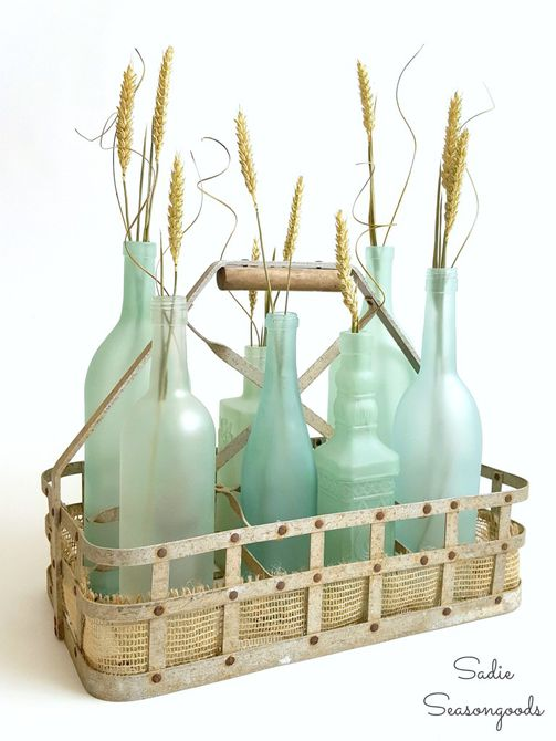 hacer botellas de vidrio marino con pintura en aerosol