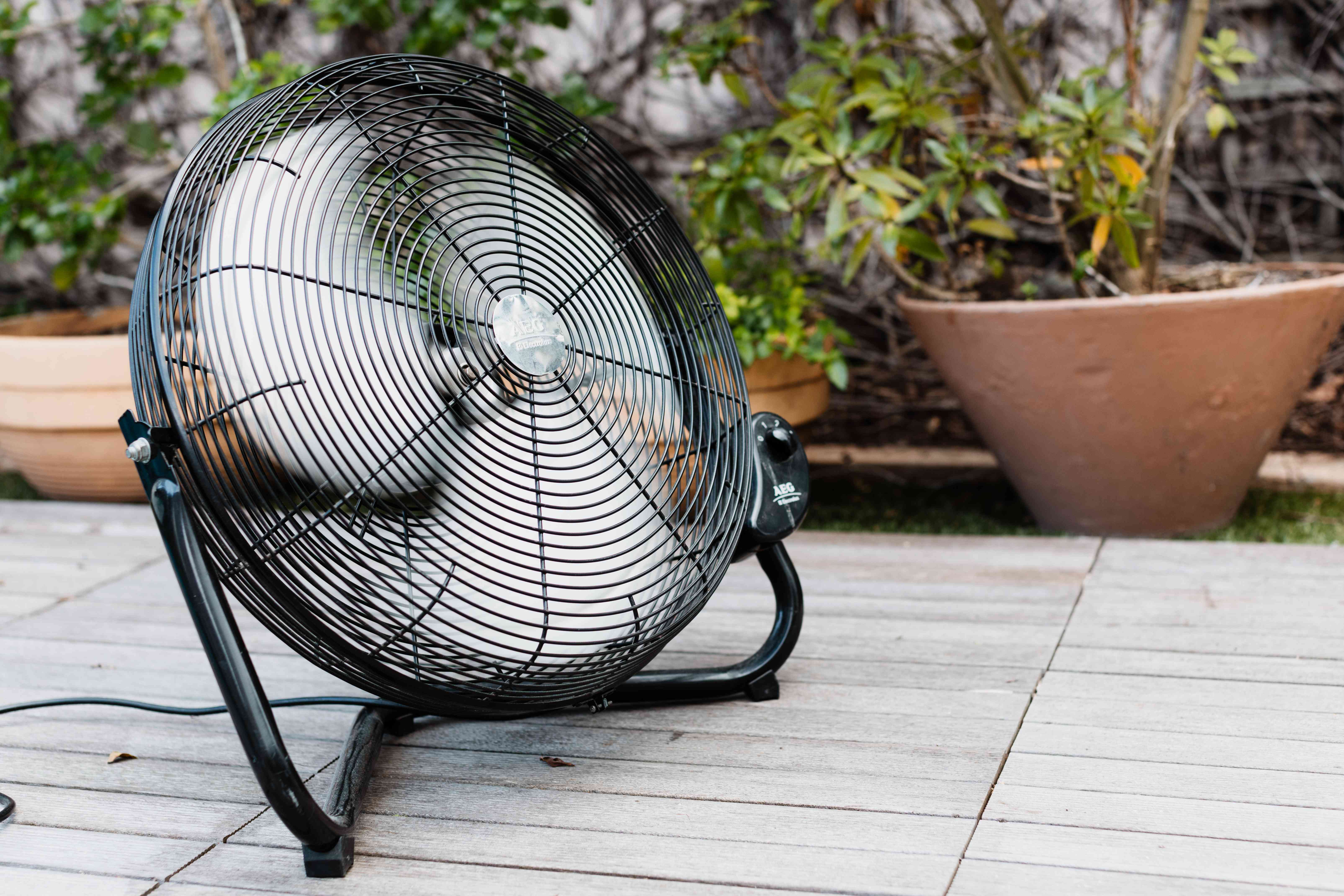 Large round fan running to reduce mosquito landings