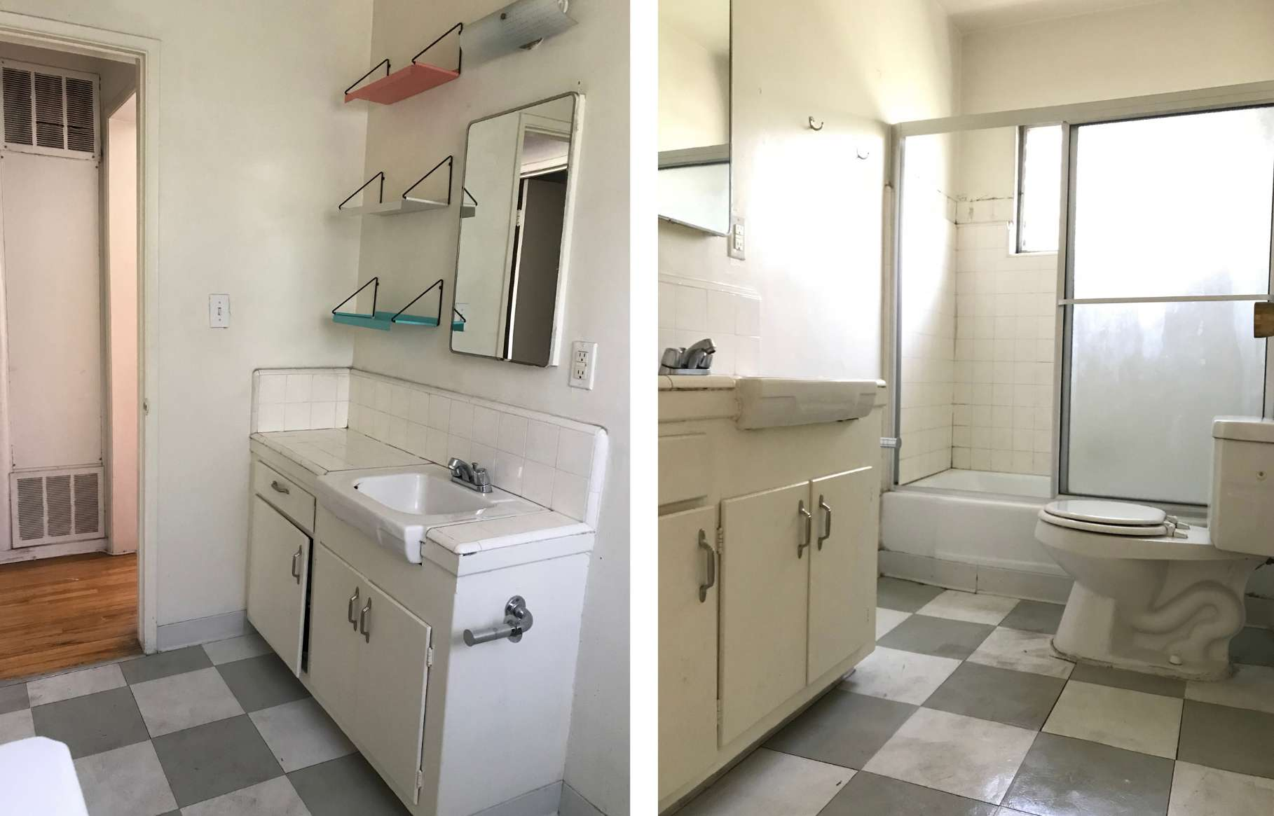 Dingy white bathroom in need of a renovation