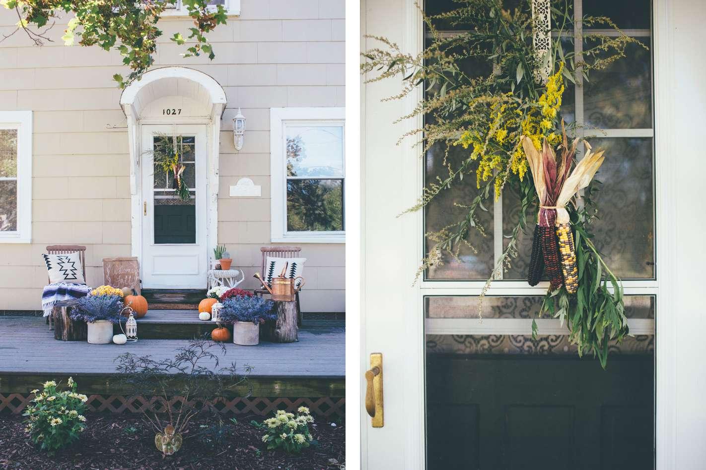 boho fall porch with flowers