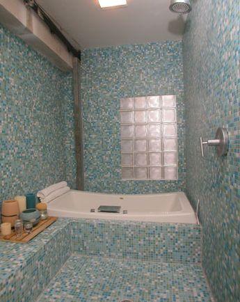 Green Mosaic Tile Shower