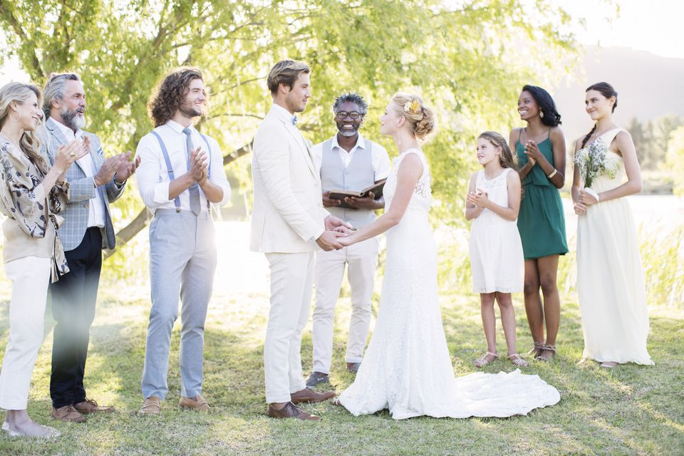 Wedding ceremony with bridal party and officiant