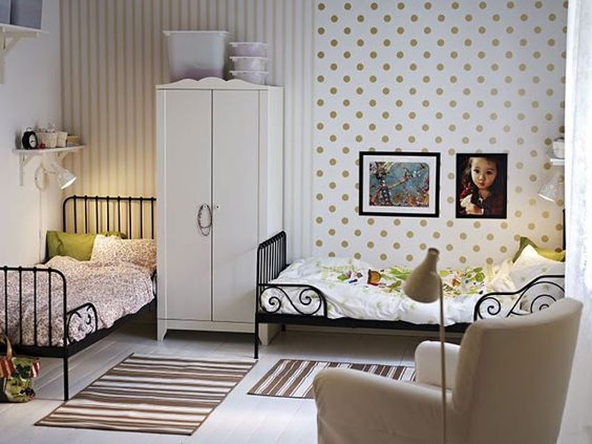 Shared girls room with stripes and polka dots