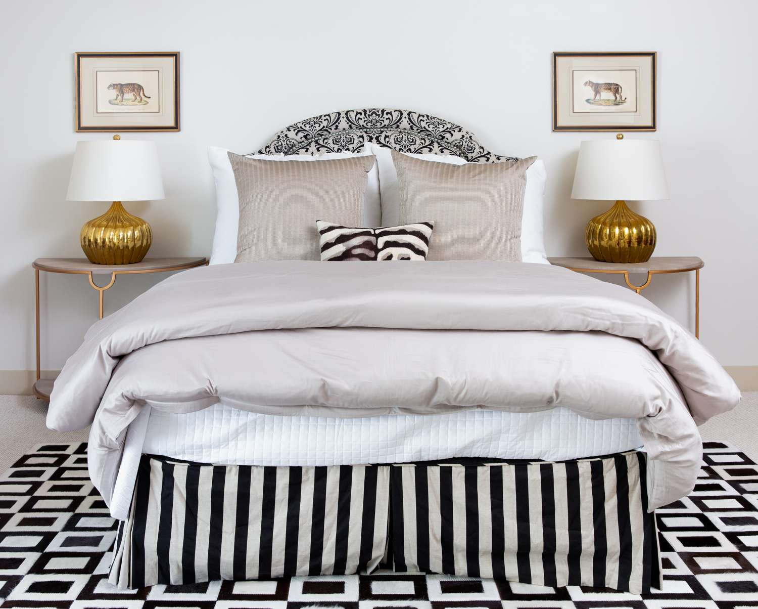 Lavender bedroom with black and white