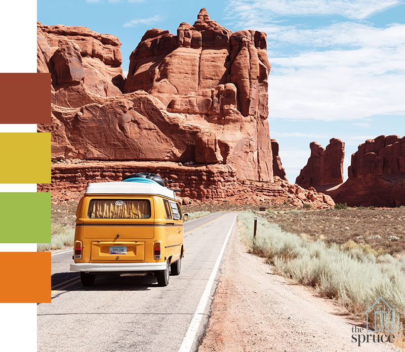 An image of an old fashion van driving down a desert road with four paint swatches to the left of the image
