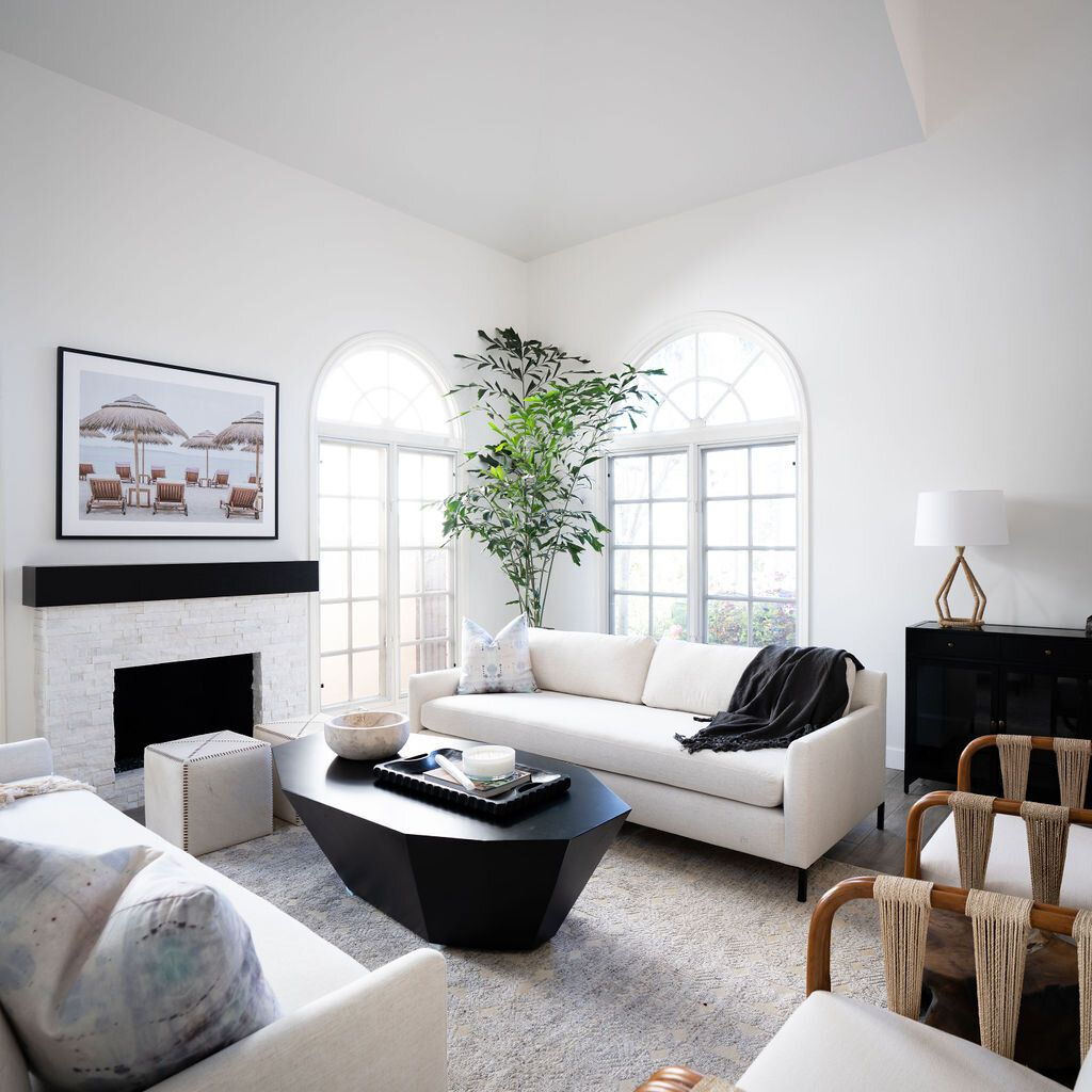 neutral color modern living room with tall plant in the corner