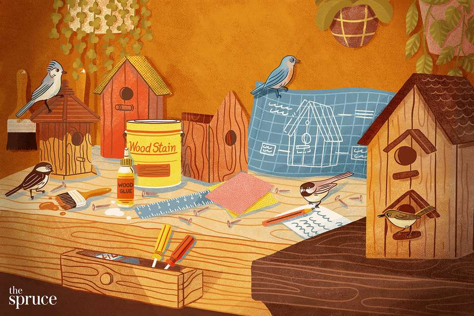 Illustration of a workstation filled with materials to build a birdhouse, like wood stain, a ruler, screwdrivers, blueprints, and birds.