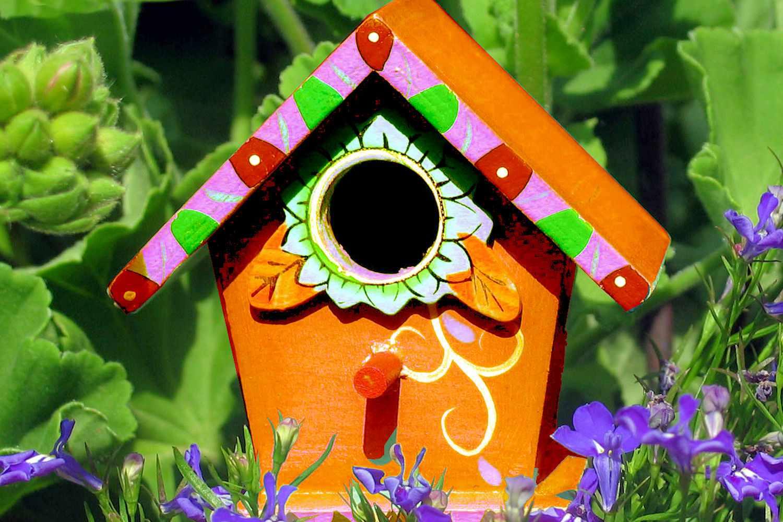 Whimsical Orange Birdhouse
