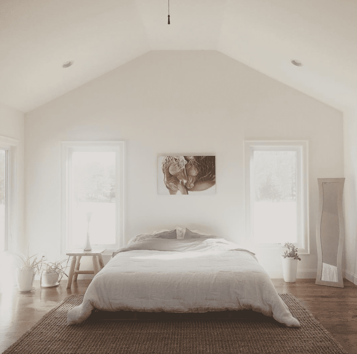 a simple white bedroom