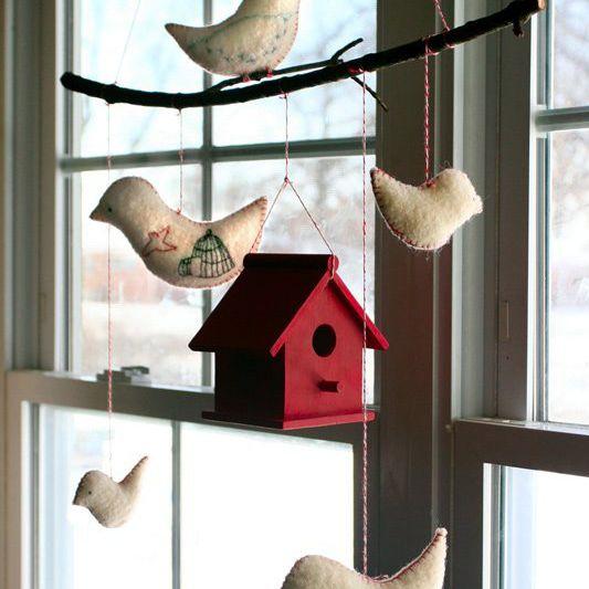 Rustic DIY bird mobile for woodland nursery