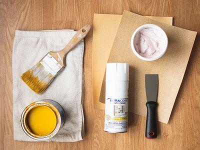 Materials and tools to refurbish wood furniture