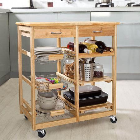 rolling bamboo kitchen carrt - Kitchen Carts
