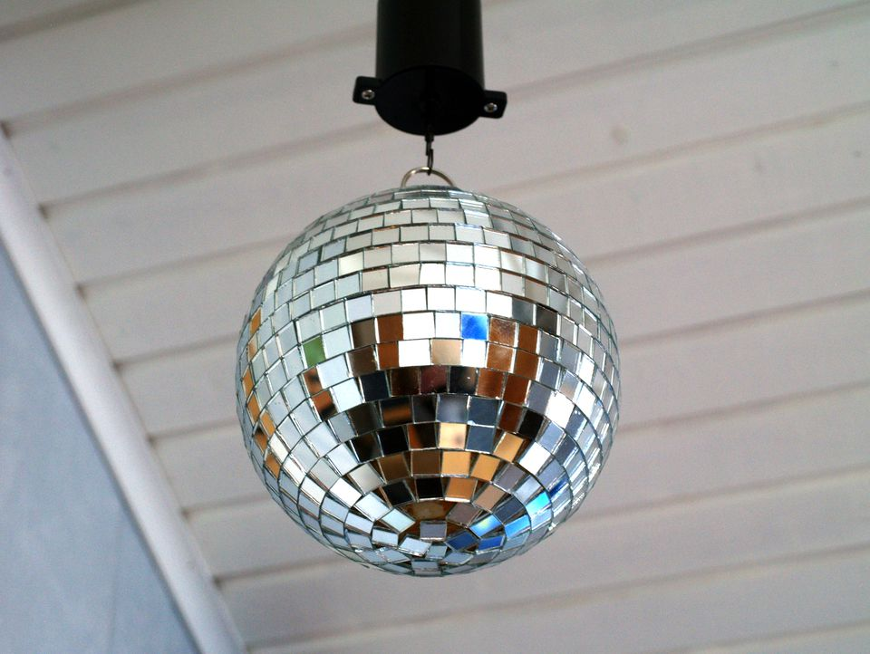 disco ball mounted on ceiling