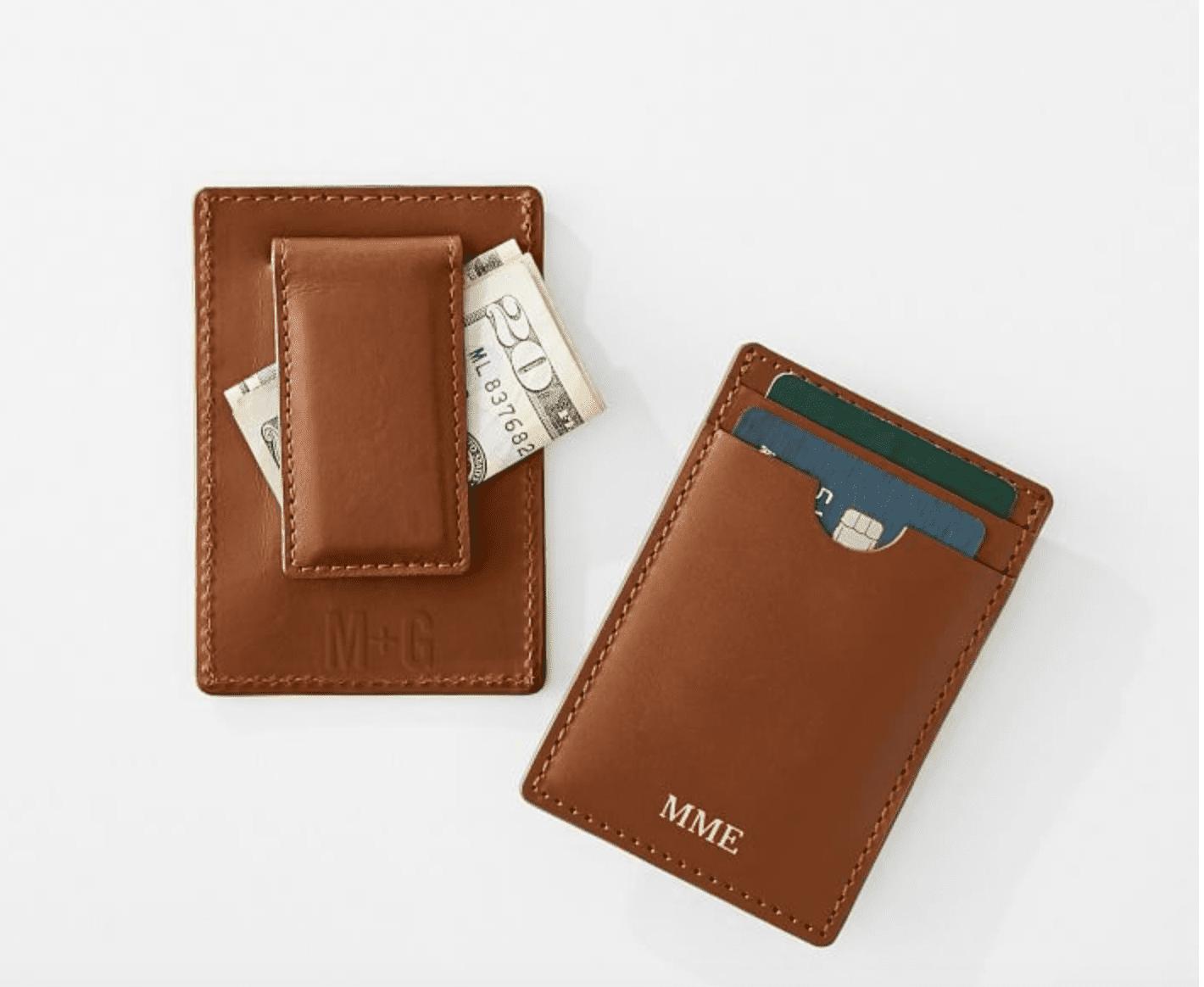 Mark & Graham Monogrammed Leather Money Clip Wallet