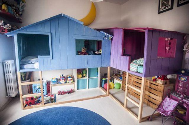 IKEA's KURA kid's bed transformed into a DIY treehouse bed