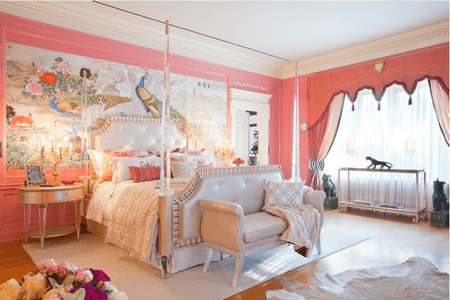 Gorgeous Pink Bedroom With Wall Mural And Glamorous Bed