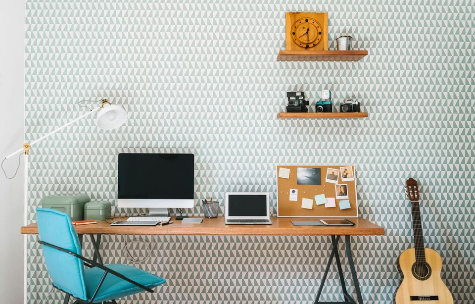 geometric wallpaper in an office