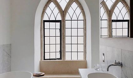 Bathroom with cathedral window