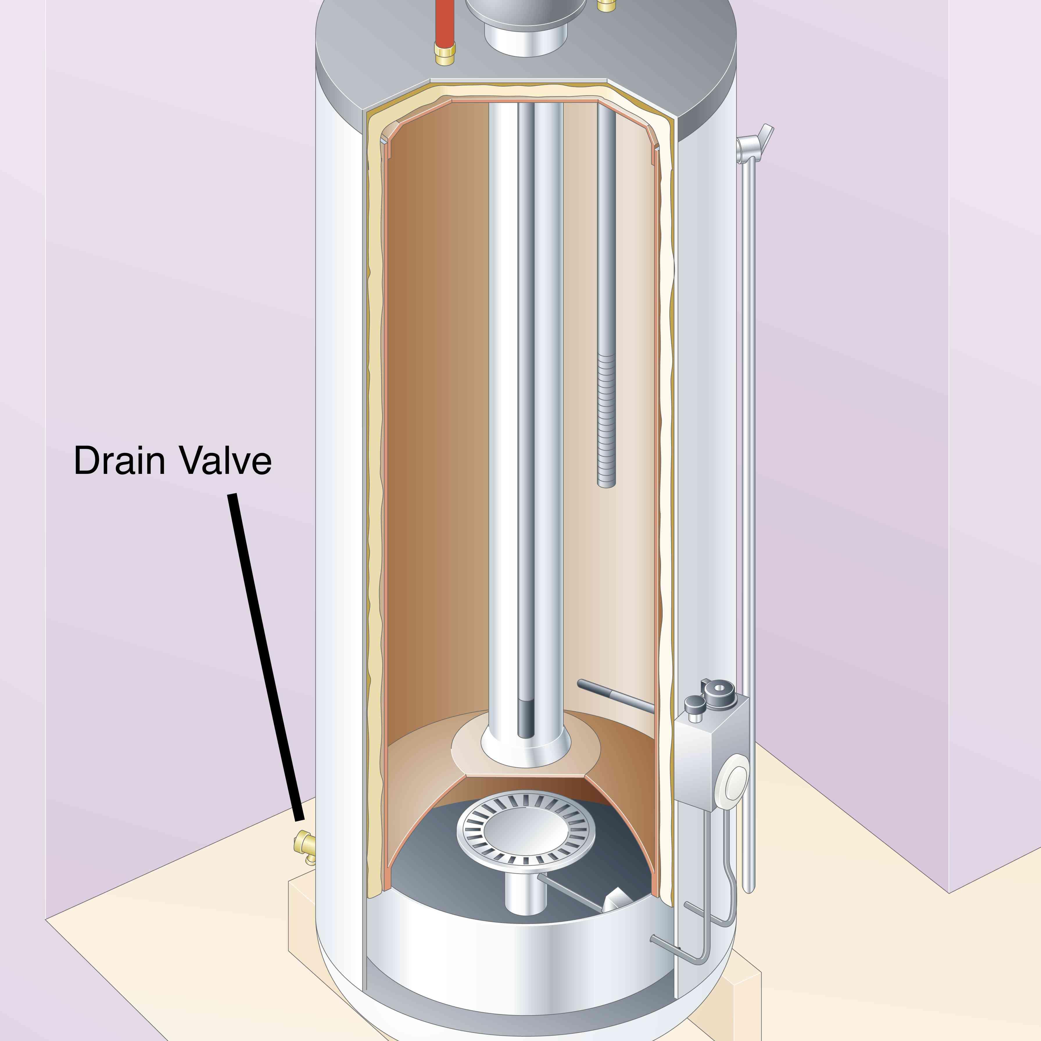Inside of gas hot water heater, drain valve