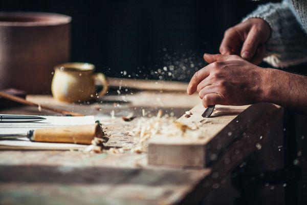 man-woodworking