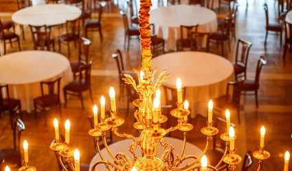 chandeliers over dining room