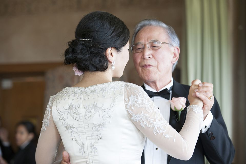 A father and daughter dancing