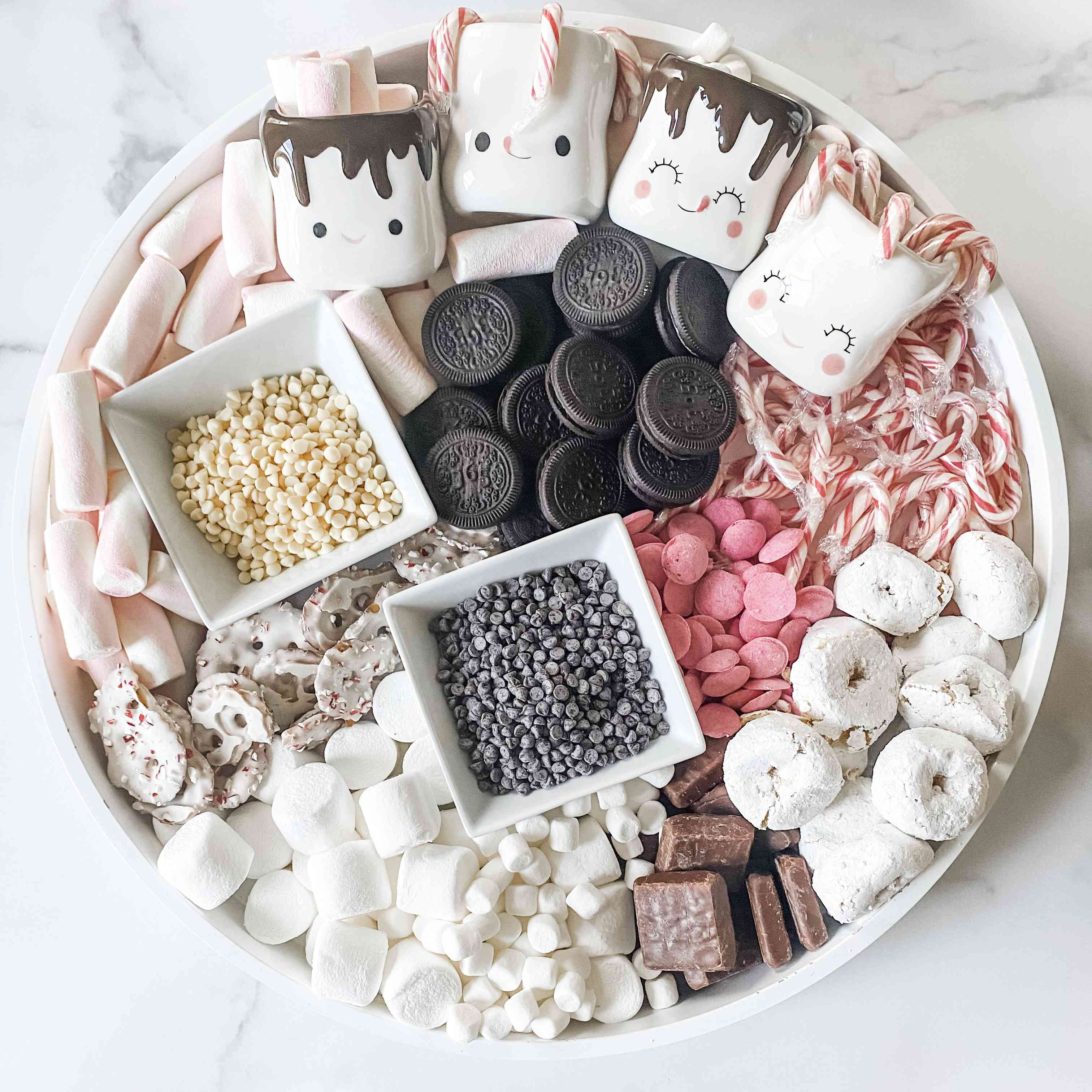Cocoa board with peppermint treats by Mimi Markopoulos