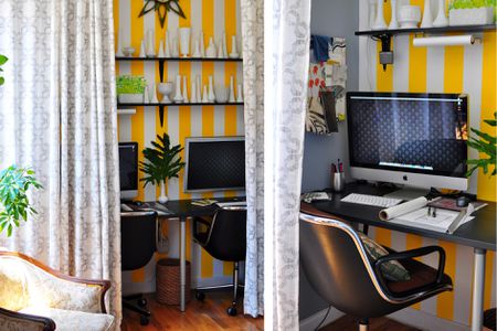 Home Office Behind A Curtain