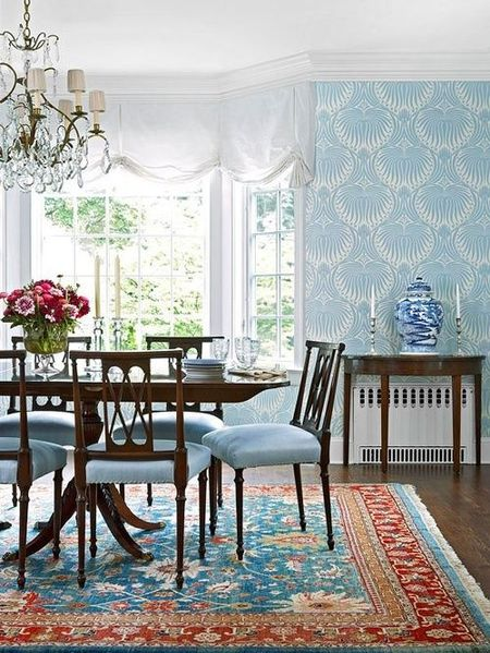 Blue Wallpaper In Dining Room