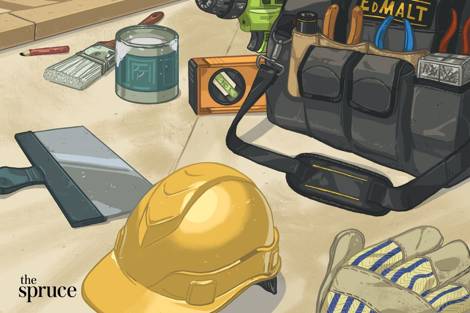 Tools and a hard hat on a table illustration
