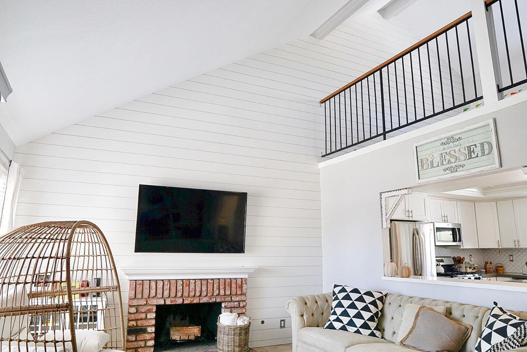 Living room with shiplap wall
