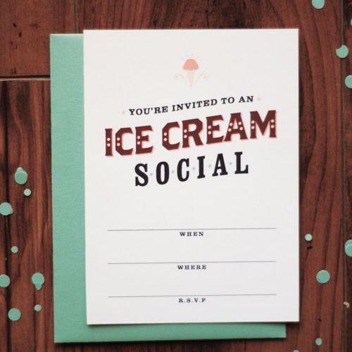 DIY Printable Ice Cream Social Invitations