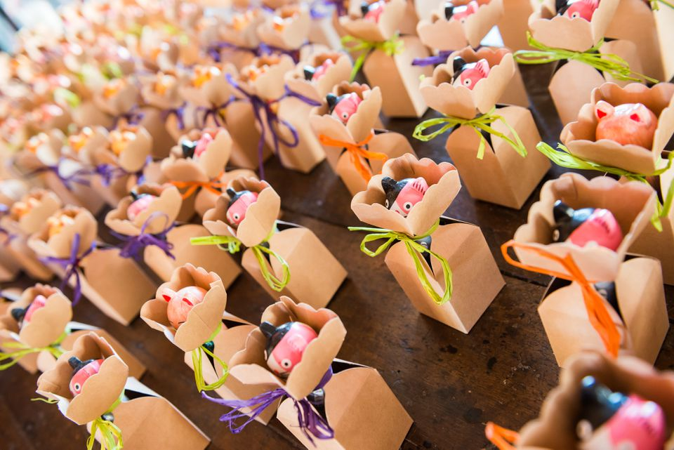 many colored wedding favours