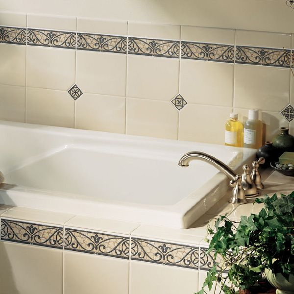 Image result for decorative tiling around bathtub