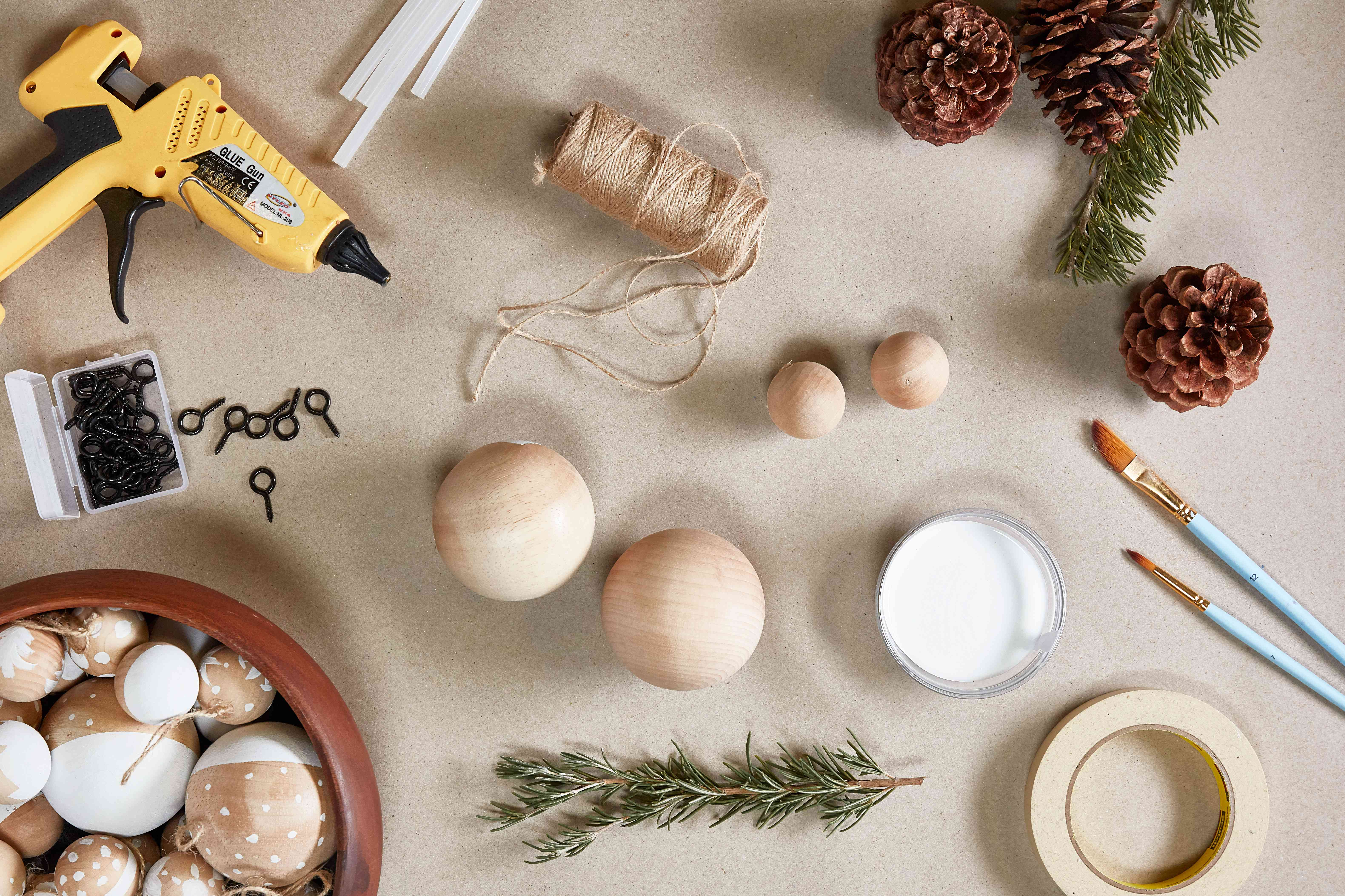 Supplies for painting wooden ornaments