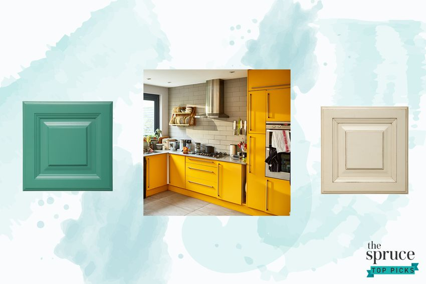 Photo composite of a teal and beige cabinet and a modern kitchen over a blue watercolor background.
