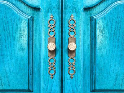 Bright blue wooden closet doors