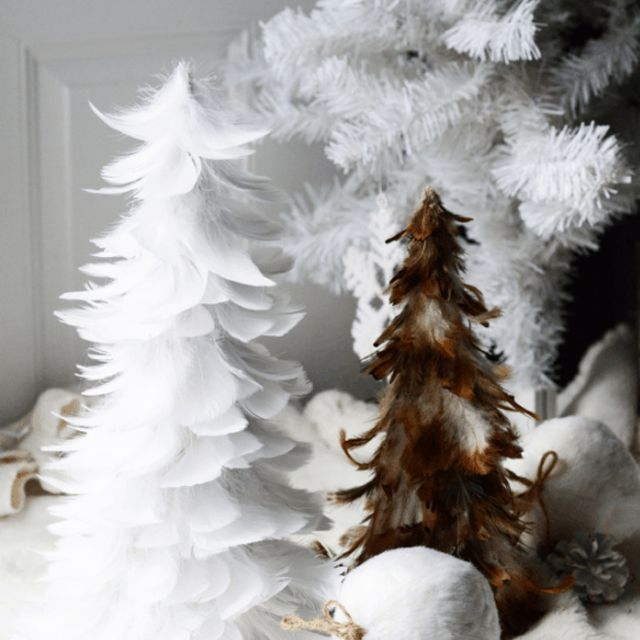 DIY Feather Christmas Trees