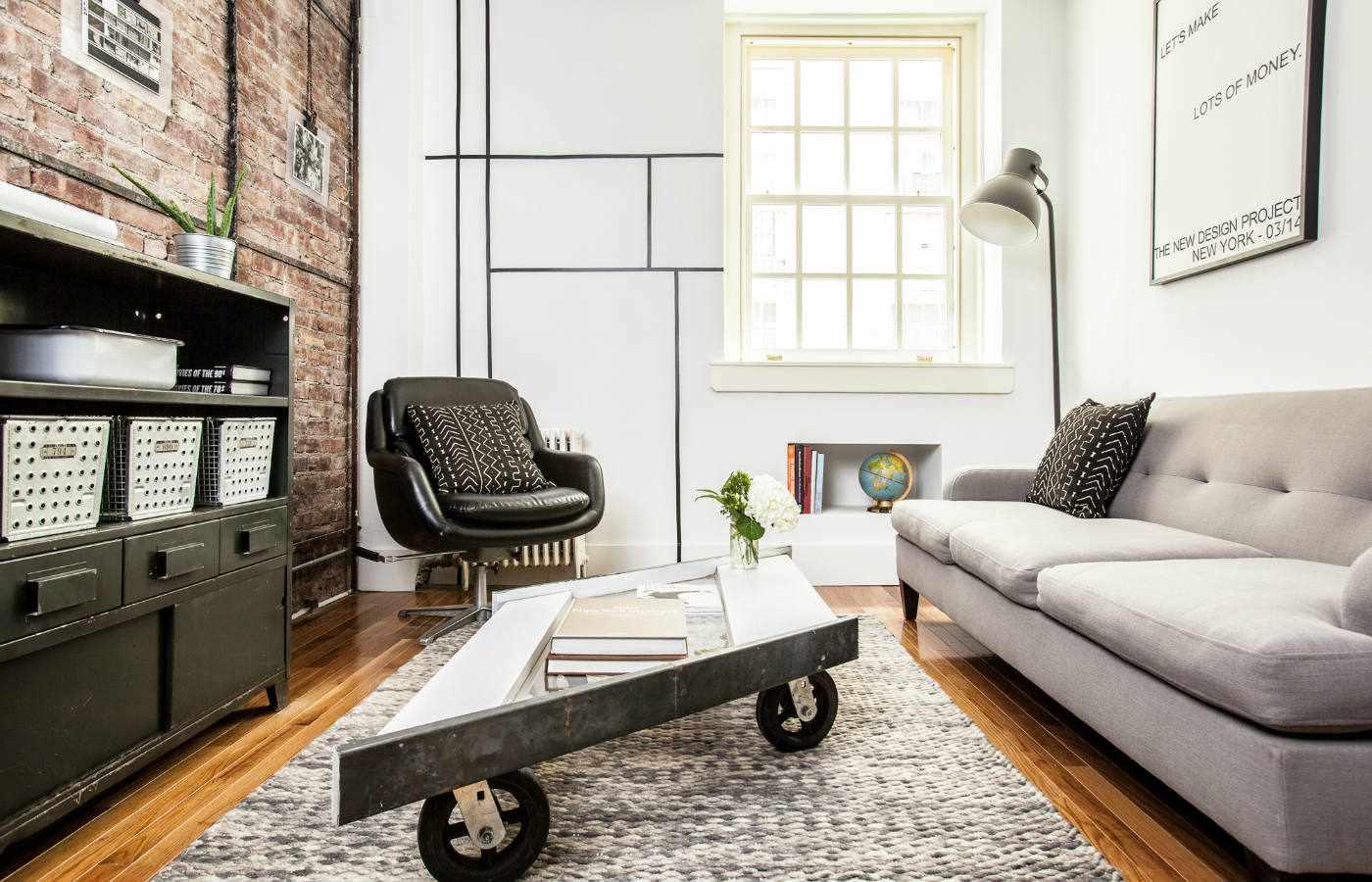 retro tiny living room in NYC
