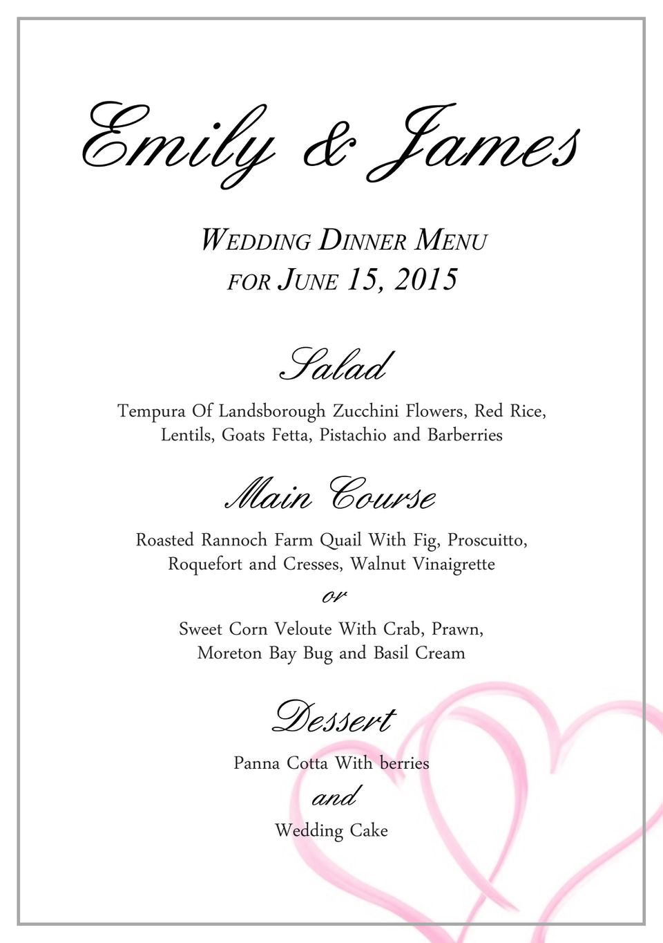 Download A Free Wedding Menu Template - Free printable drink menu template